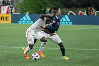 Foxborough, Massachusetts - June 2, 2018:  The New England Revolution (blue/white) beat the New York Red Bulls (white) 2-1 in a Major League Soccer (MLS) match at Gillette Stadium.