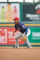 Binghamton Rumble Ponies second baseman Luis Carpio (21) during an Eastern League game against the Richmond Flying Squirrels on May 29, 2019 at The Diamond in Richmond, Virginia.  Binghamton defeated Richmond 9-5 in ten innings.  (Mike Janes/Four Seam Images)
