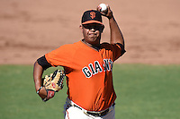 San Francisco Giants pitcher Carlos Diaz (71) during an Instructional League game against the SK Wyverns on October 14, 2014 at Giants Baseball Complex in Scottsdale, Arizona.  (Mike Janes/Four Seam Images)