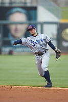 Pensacola Blue Wahoos second baseman Joe Cronin (15) makes a throw to first base against the Birmingham Barons at Regions Field on July 7, 2019 in Birmingham, Alabama. The Barons defeated the Blue Wahoos 6-5 in 10 innings. (Brian Westerholt/Four Seam Images)