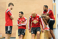 Pictured L-R: Ben Davies, Leon Britton, Jonjo Shelvey and Kyle Bartley. Thursday 03 July 2014<br />