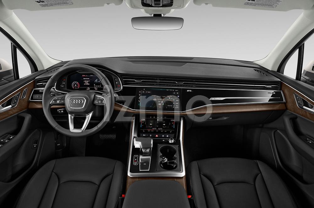 Stock photo of straight dashboard view of 2020 Audi Q7 Premium 5 Door SUV Dashboard