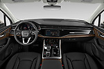 Stock photo of straight dashboard view of 2020 Audi Q7 Premium 5 Door SUV Dashboard