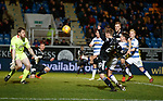 Gavin Reilly blazes over keeper Derek Gaston in the final minute