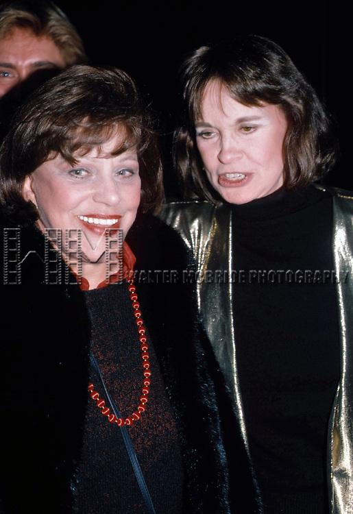 Kaye Ballard and Gloria Vanderbilt on December 1, 1985 in New York City.