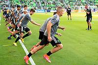 AUSTIN, TX - JUNE 19: Austin FC players warming up before a game between San Jose Earthquakes and Austin FC at Q2 Stadium on June 19, 2021 in Austin, Texas.