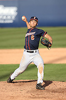 Scott Hurst #6 of the Cal State Fullerton Titans pitches against the Stanford Cardinal at Goodwin Field on February 19, 2017 in Fullerton, California. Stanford defeated Cal State Fullerton, 8-7. (Larry Goren/Four Seam Images)