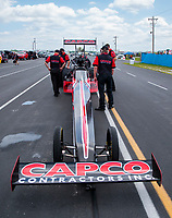 Jul 18, 2020; Clermont, Indiana, USA; NHRA top fuel driver Steve Torrence during qualifying for the Summernationals at Lucas Oil Raceway. Mandatory Credit: Mark J. Rebilas-USA TODAY Sports