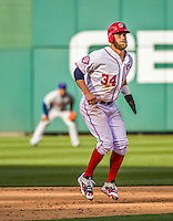 6 April 2015: Washington Nationals outfielder Bryce Harper on the base path during the Home Opening Game against the New York Mets at Nationals Park in Washington, DC. The Mets rallied to defeat the Nationals 3-1 in their first meeting of the 2015 MLB season. Mandatory Credit: Ed Wolfstein Photo *** RAW (NEF) Image File Available ***
