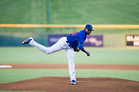 AZL Cubs starting pitcher Alfredo Colorado (75) follows through on his delivery against the AZL Diamondbacks on August 11, 2017 at Sloan Park in Mesa, Arizona. AZL Cubs defeated the AZL Diamondbacks 7-3. (Zachary Lucy/Four Seam Images)