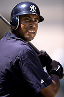 Bernie Williams of the New York Yankees during a 2001 season MLB game at Angel Stadium in Anaheim, California. (Larry Goren/Four Seam Images)