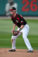 Rochester Red Wings second baseman James Beresford (2) during the first game of a doubleheader against the Buffalo Bisons on July 6, 2014 at Frontier Field in Rochester, New  York.  Rochester defeated Buffalo 6-1.  (Mike Janes/Four Seam Images)