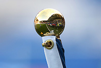 A general view of the Cardiff City Stadium through the reflection of the end of flagpole prior to kick off of the Sky Bet Championship match between Cardiff City and Norwich City at Cardiff City Stadium, Wales, UK. Saturday, 04 February 2017