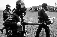 Police with gas masks