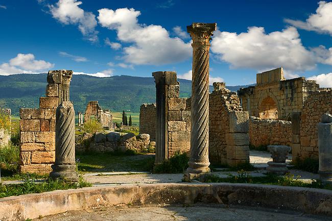 Main entrance of a Roman Villa in Volubilis Archaeological Site, near Meknes, Morocco