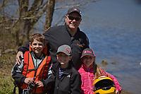 Tony Black with grandchildren Mason, Parker and Mackenzie Kuhr.