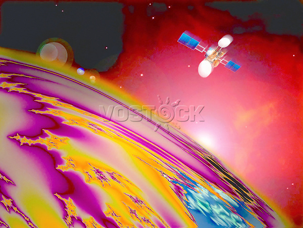 Drawing illustrating the space, planet, satellite, star.