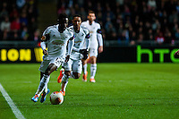 Swansea, UK. Thursday 20 February 2014<br /> Pictured: Nathan Dyer tears down the wing for Swansea<br /> Re: UEFA Europa League, Swansea City FC v SSC Napoli at the Liberty Stadium, south Wales, UK