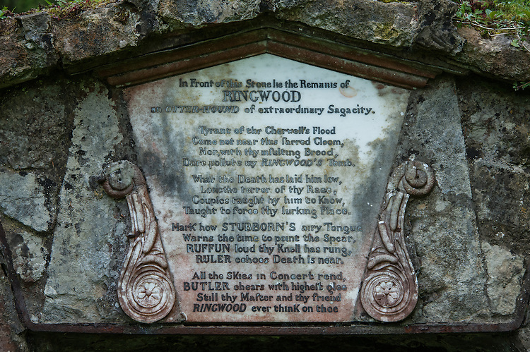 "Memorial to Ringwood, otter hound, Rousham  House and Garden: ""In Front of this Stone lie the Remains of Ringwood an otter-hound of extraordinary Sagacity""."