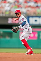 20 May 2018: Washington Nationals infielder Wilmer Difo sets to get the first out of the 3rd inning against the Los Angeles Dodgers at Nationals Park in Washington, DC. The Dodgers defeated the Nationals 7-2, sweeping their 3-game series. Mandatory Credit: Ed Wolfstein Photo *** RAW (NEF) Image File Available ***