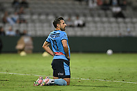 8th February 2021; Jubilee Stadium, Sydney, New South Wales, Australia; A League Football, Sydney Football Club versus Wellington Phoenix; Kosta Barbarouses of Sydney reflects on a missed goal scoring chance