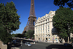 Apartment building on Quai Branly with Eiffel Tower in the background. City of Paris. Paris. France