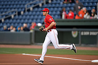 First baseman Triston Casas (38) of the Greenville Drive runs onto the field before a game against the Rome Braves on Saturday, April 20, 2019, at Fluor Field at the West End in Greenville, South Carolina. Rome won, 5-4. (Tom Priddy/Four Seam Images)