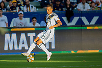 CARSON, CA - SEPTEMBER 29: Rolf Feltscher #25 of the Los Angeles Galaxy moves with the ball during a game between Vancouver Whitecaps and Los Angeles Galaxy at Dignity Health Sports Park on September 29, 2019 in Carson, California.