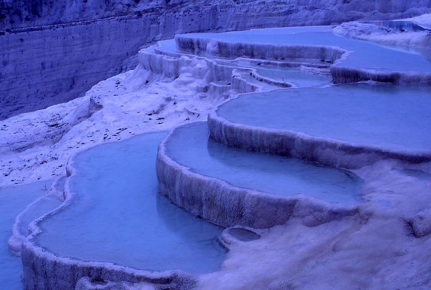 Asia, TUR, Turkey, Aegean, Pamukalle, Hot springs, Limestone terrace, Detail, Twilight, Dusk