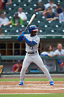 Jonathan Davis (1) of the Buffalo Bisons at bat against the Caballeros de Charlotte at BB&T BallPark on July 23, 2019 in Charlotte, North Carolina. The Bisons defeated the Caballeros 8-1. (Brian Westerholt/Four Seam Images)