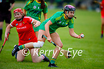 Niamh Leen of Kerry about to hand pass the sliotar out of danger as she clears the Kerry defence against Cork in the Munster Junior Camogie semi final.