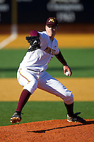 Relief pitcher Tom Windle #38 of the Minnesota Golden Gophers in action against the Towson Tigers at Gene Hooks Field on February 26, 2011 in Winston-Salem, North Carolina.  The Gophers defeated the Tigers 6-4.  Photo by Brian Westerholt / Sports On Film