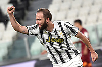 Gonzalo Higuain of Juventus celebrates after scoring the goal of 1-0 during the Serie A football match between Juventus FC and AS Roma at Juventus stadium in Turin (Italy), August 1st, 2020. Play resumes behind closed doors following the outbreak of the coronavirus disease. Photo Andrea Staccioli / Insidefoto
