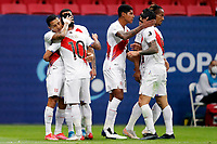 9th July 2021, Brasilia, Federal District, Brazil: Team Peru celebrate their goal  during match between Colombia and Peru for 3rd place in Copa America 2021, held at Mane Garrincha stadium, in Brasilia, Federal District