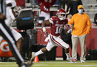 Arkansas wide receiver Treylon Burks (16) carries the ball, Saturday, November 7, 2020 during the third quarter of a football game at Donald W. Reynolds Razorback Stadium in Fayetteville. Check out nwaonline.com/201108Daily/ for today's photo gallery. <br /> (NWA Democrat-Gazette/Charlie Kaijo)