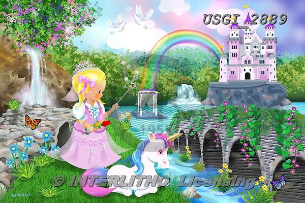 GIORDANO, CHILDREN, KINDER, NIÑOS, paintings+++++,USGI2889,#k# ,puzzle,princess,unicorn,castle,rainbow