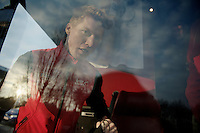 Ronde van Vlaanderen 2013..Marcel Sieberg (DEU) on the bus