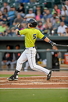 Left fielder Matt Winaker (5) of the Columbia Fireflies bats in a game against the Augusta GreenJackets on Friday, April 6, 2018, at Spirit Communications Park in Columbia, South Carolina. Columbia won, 7-2. (Tom Priddy/Four Seam Images)