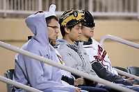 """A group of Kannapolis Intimidators fans wear their """"rally hats"""" during the game against the Lakewood BlueClaws at Kannapolis Intimidators Stadium on April 7, 2017 in Kannapolis, North Carolina.  The BlueClaws defeated the Intimidators 6-4.  (Brian Westerholt/Four Seam Images)"""