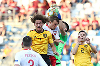 Wout Faes of Belgium, Krystian Bielik of Poland and Kamil Grabara of Poland  compete for the ball<br /> Reggio Emilia 16-06-2019 Stadio Città del Tricolore <br /> Football UEFA Under 21 Championship Italy 2019<br /> Group Stage - Final Tournament Group A<br /> Poland - Belgium<br /> Photo Cesare Purini / Insidefoto