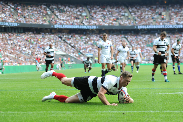 Chris Ashton (Toulon & England) of Barbarians scores his second try during the Quilter Cup match between England and Barbarians at Twickenham Stadium on Sunday 27th May 2018 (Photo by Rob Munro/Stewart Communications)