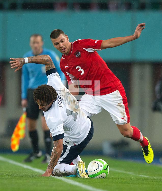 VIENNA, Austria - November 19, 2013: Jermaine Jones and Austria's Aleksandar Dragovic during a 0-1 loss to host Austria during the international friendly match between Austria and the USA at Ernst-Happel-Stadium.