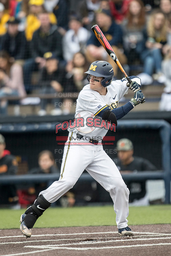 Michigan Wolverines shortstop Jack Blomgren (18) at bat against the Maryland Terrapins on April 13, 2018 in a Big Ten NCAA baseball game at Ray Fisher Stadium in Ann Arbor, Michigan. Michigan defeated Maryland 10-4. (Andrew Woolley/Four Seam Images)