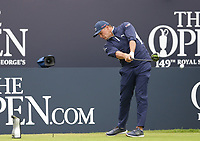 14th July 2021; The Royal St. George's Golf Club, Sandwich, Kent, England; The 149th Open Golf Championship, practice day; Bryson Dechambeau (USA) hits his driver from the tee at the 1st hole
