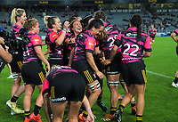 The Chiefs celebrate Stacey Elder's try during the Super Rugby Women match between the Blues and Chiefs at Eden Park in Auckland, New Zealand on Saturday, 1 May 2021. Photo: Dave Lintott / lintottphoto.co.nz