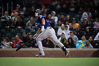 Albuquerque Isotopes first baseman Roberto Ramos (44) hits a double to left field during a Pacific Coast League game against the El Paso Chihuahuas at Southwest University Park on May 10, 2019 in El Paso, Texas. Albuquerque defeated El Paso 2-1. (Zachary Lucy/Four Seam Images)