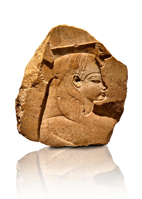Quartz ancient Egyptian relief sculpture of Queen Tiy from the funerary temple of Amenohis III, West Thebes. 18th Dynasty Ancient Egypt, 1375 BC . Neues Museum Berlin Cat No: AM 23270.