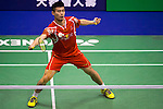 QIAO Bin of China in action while playing against PRANNOY H.S. of India during the YONEX-SUNRISE Hong Kong Open Badminton Championships 2016 at the Hong Kong Coliseum on 23 November 2016 in Hong Kong, China. Photo by Marcio Rodrigo Machado / Power Sport Images