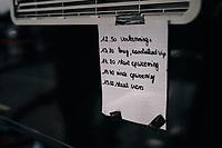 the schedule hanging at the camper of CX World Champion Wout Van Aert (BEL/Crélan-Charles)<br /> <br /> Super Prestige Ruddervoorde / Belgium 2017