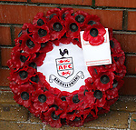 Wreaths at the John Greig statue from Airdrieonians FC